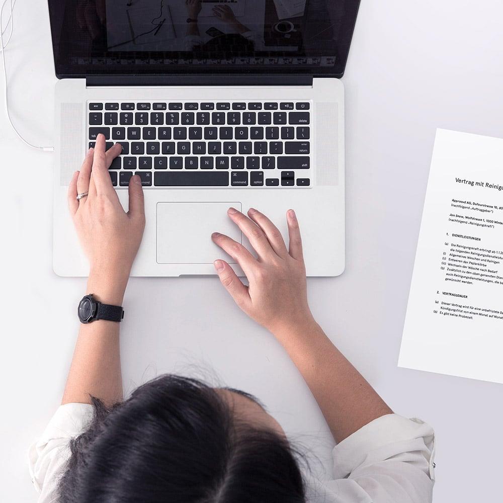 Verträge mit Approovd - Schweizer Vertragsmanagement Software - leicht und bequem online erstellen