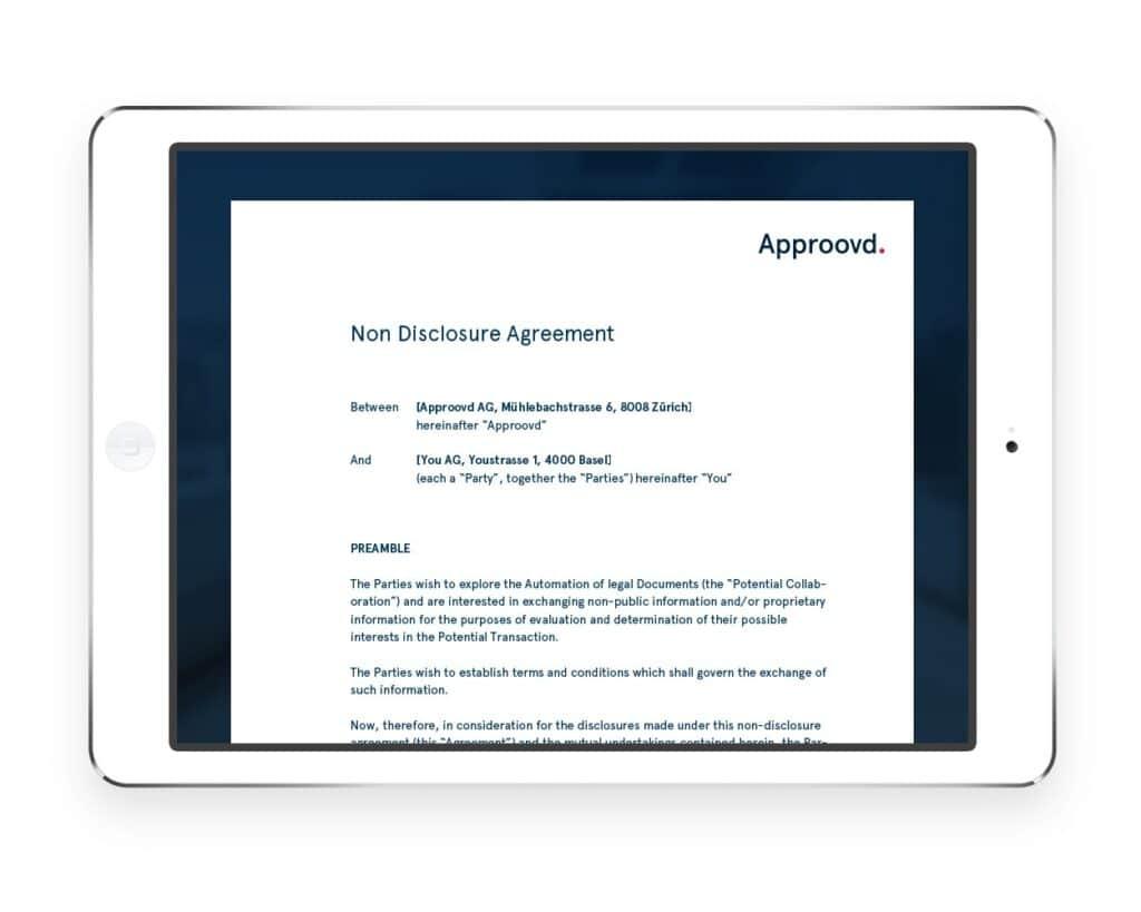 Ein Non Disclosure Agreement mit Approovd - Schweizer Vertragsmanagement Software - ganz schnell und rechtssicher online gemacht