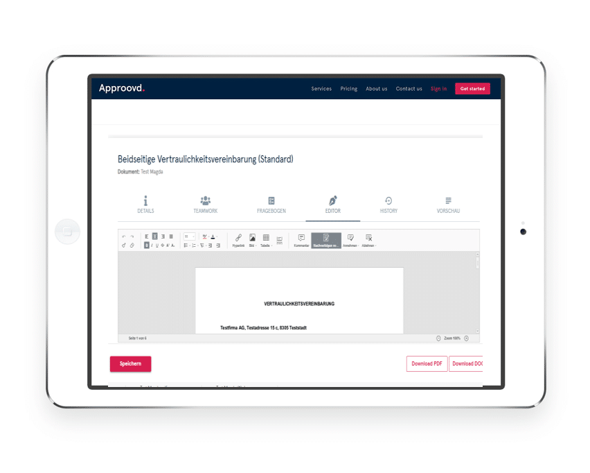 Beidseitige Geheimhaltungsvereinbarung mit Approovd - Schweizer Vertragsmanagement Software - ganz leicht online erstellen