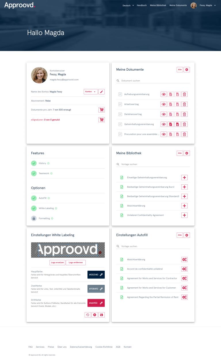 Dashboard von Approovd - alles was man braucht für ein effizientes Vetragsmanagement