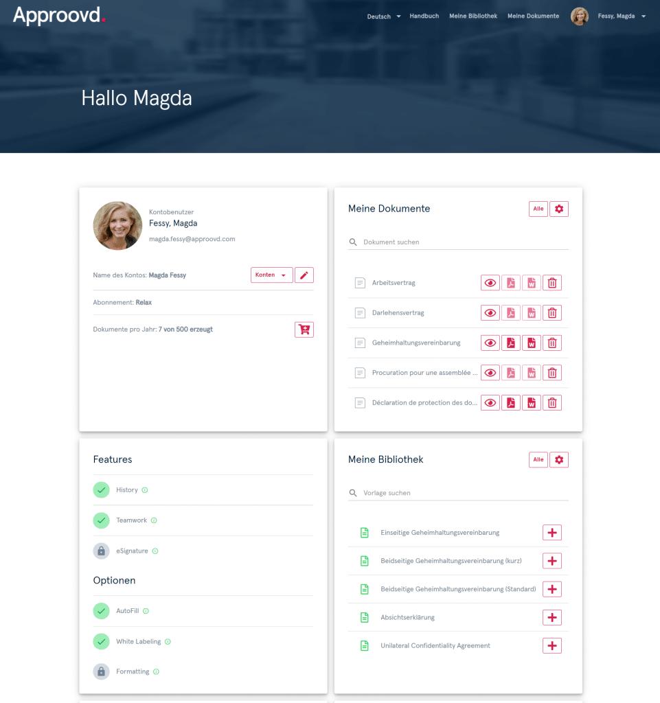 Dashboard von Approovd : Beispiel eines innovativen Vertragsmanagement Tools