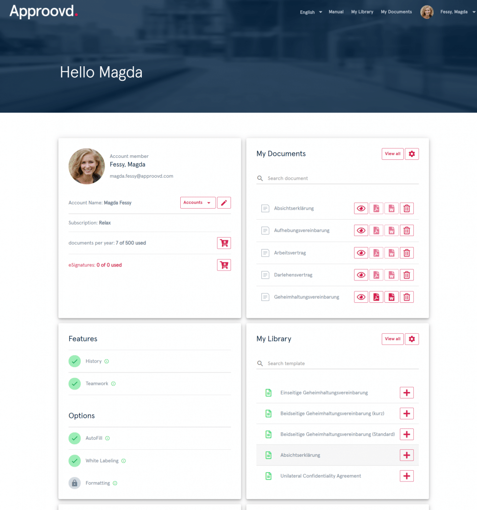 Approovd Dashboard - an intuitive user inferace for an efficient contract management