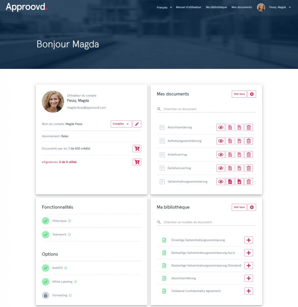 Tableau de bord Approovd - logiciel de gestion des contrats