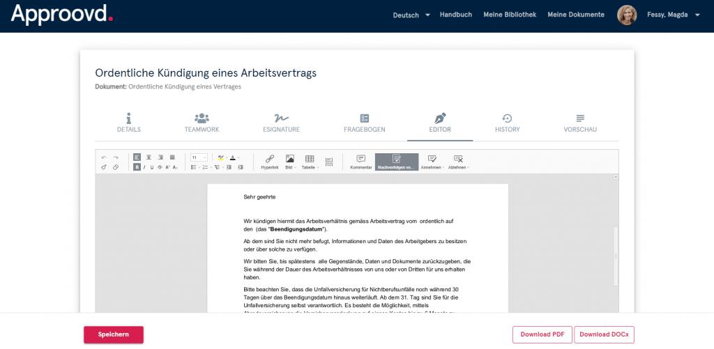 Ordentliche Kündigung eines Arbeitsvertrags - Editieren mit Approovd leicht gemacht